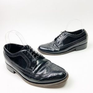 Florsheim Black Leather Imperial Wing Tip Derby
